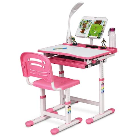 Gymax Height Adjustable Kids Desk Chair Set Study Drawing w/Lamp &