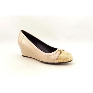 Vaneli Lilibet Women Open Toe Leather Wedge Heel