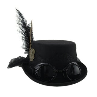 Victorian Gothic Lace Trim Steampunk Hat with Feathers Tulle and Goggles