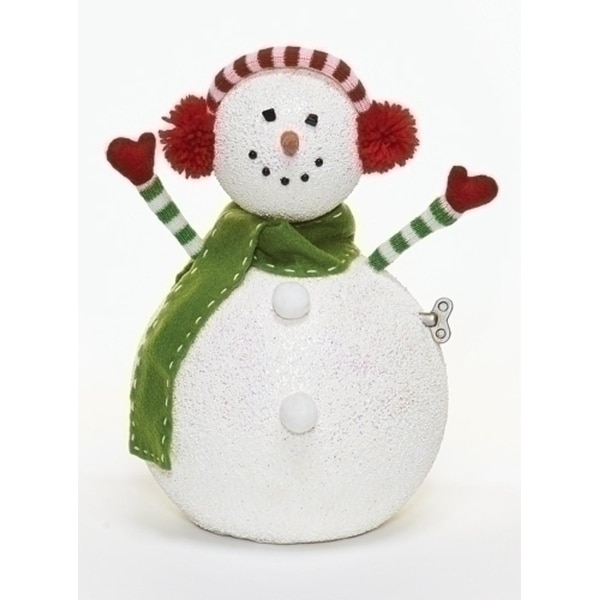 "12"" Happy Holidays Animated and Musical Snowman with Earmuffs Christmas Figure - WHITE"