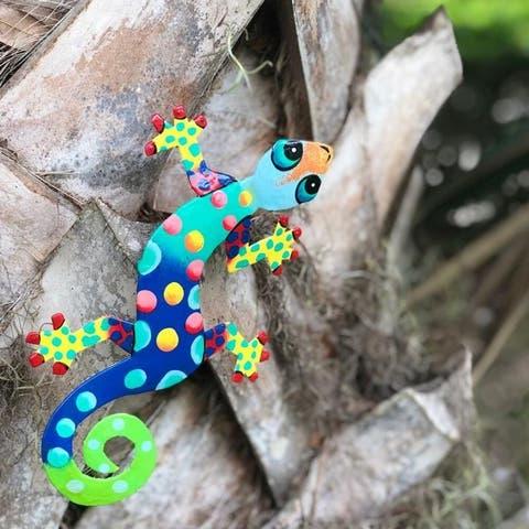Handmade Recycled Metal Gecko Wall Art (Haiti)