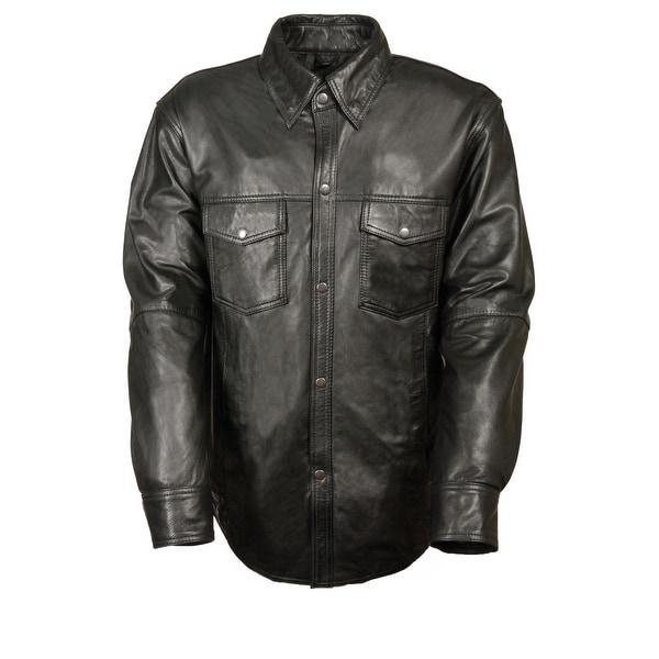 Mens Snap Down Black Leather Shirt