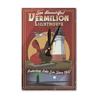 Ohio Vermilion Lighthouse Vintage Sign LP Artwork (Acrylic Wall Clock) - acrylic wall clock