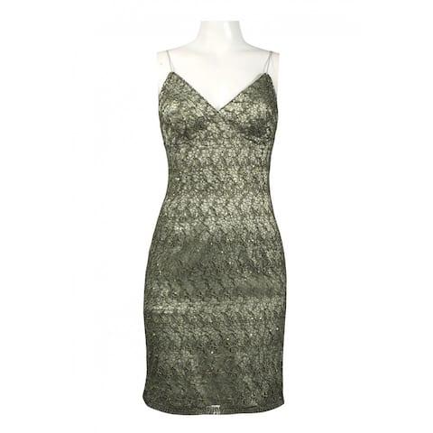 Adrianna Papell Sleeveless Sequined Lace Sheath Dress, Sea Green, 4