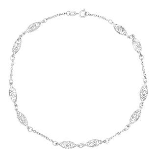 Just Gold Filigree Link Anklet in 14K White Gold