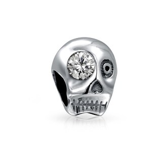 Bling Jewelry 925 Sterling Silver Skull CZ Eye Bead Charm