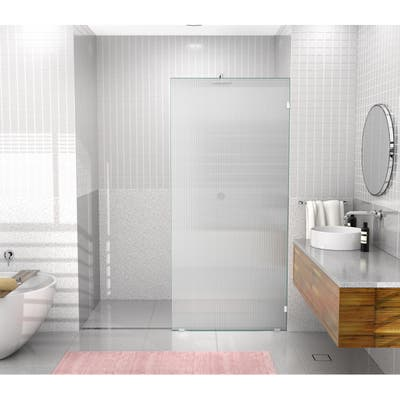 """Glass Warehouse 36"""" x 78"""" Frameless Shower Door - Single Fixed Panel Fluted Frosted"""
