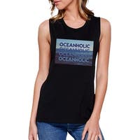 Ocean Holic Womens Black Graphic Muscle Tanks Cute Tropical Design