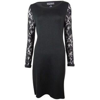 Jessica Howard Women's Lace Sleeves Boat Neck Knit Dress - Black