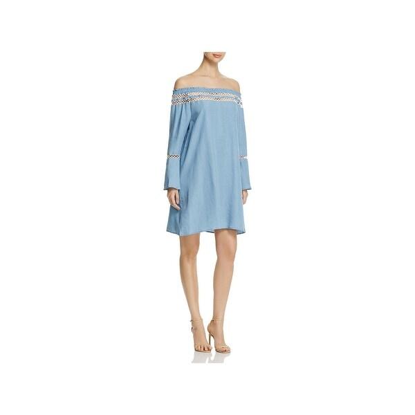 169bd9a669 Shop Bagatelle Womens Casual Dress Chambray Crochet Trim - Free ...
