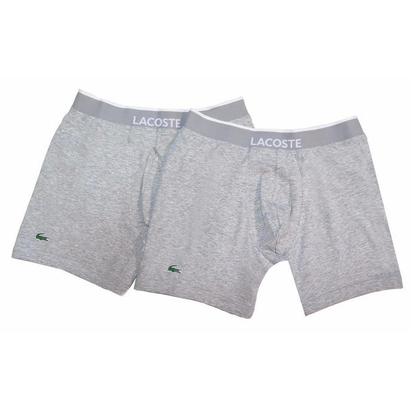 c72ee3195539 Shop LACOSTE Men s Gray Cotton Blend Logo Knit Boxer Brief Trunk 2 Pack -  Free Shipping On Orders Over  45 - Overstock - 19561576