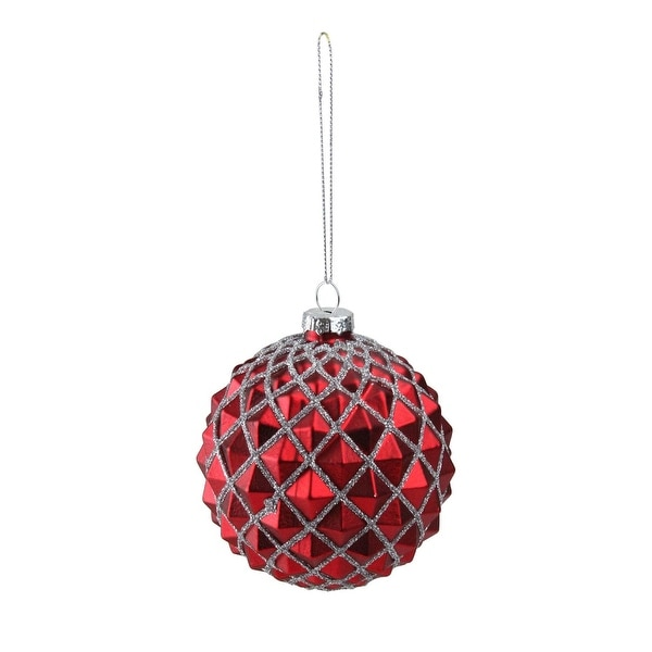 """3.25"""" Red and Silver Glittered Glass Ball Christmas Ornament"""