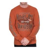 Harley-Davidson Men's Chase Eagle Crew-Neck Long Sleeve Shirt - Texas Orange