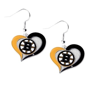 Boston Bruins Swirl Heart Earring NHL Dangle Logo Charm Gift