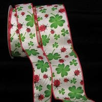 """White with Green Shamrock and Red Ladybug Print Wired Craft Ribbon 2.5"""" x 40 Yards"""