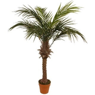 """58.5"""" Decorative Potted Artificial Brown and Green Phoenix Palm Tree"""