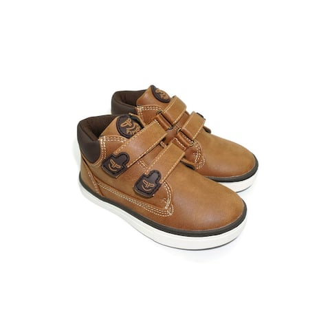 Pipiolo Boys Tan High Top Double Adhesive Strap Sneakers