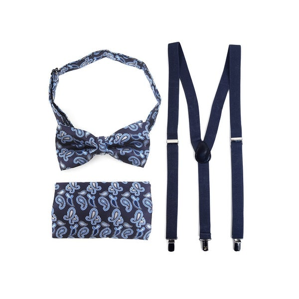 3pc Men's Navy Banded Suspenders, Paisley Bow Tie and Hanky Sets - One Size Fits most