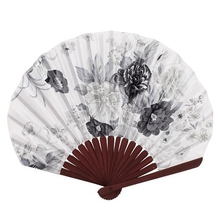 Unique Bargains Party Decor Bamboo Frame Fabric Blooming Flower Pattern Foldable Hand Fan White