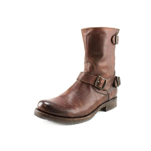 Frye Veronica Back Zip Short Women Round Toe Leather Brown Mid Calf Boot