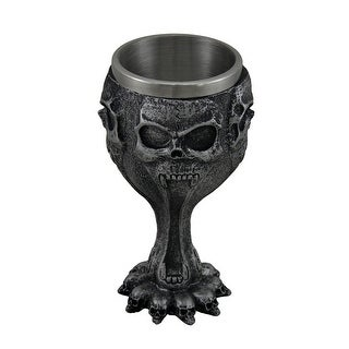 Silent Screaming Skull Face Metallic Black Drinking Goblet