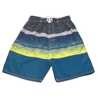 Quad Seven Boys Yellow Blue Wave Pattern Drawstring Swim Trunks