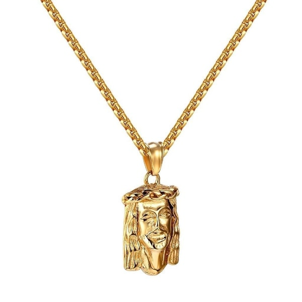 Jesus Christ Pendant 14k Gold Tone Stainless Steel Hip Hop Box Chain Charm Set