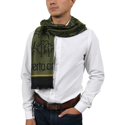 Roberto Cavalli ESZ053 04000 Green Wool Blend Logo Mens Scarf - 40