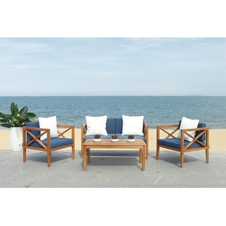 Shop Safavieh Outdoor Living Cushioned Brown Acacia Wood 4 ... on Safavieh Outdoor Living Montez 4 Piece Set id=86583