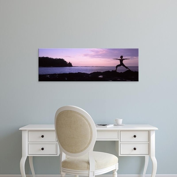 Easy Art Prints Panoramic Images's 'Woman exercising on the coast, La Punta, Papagayo Peninsula, Costa Rica' Canvas Art