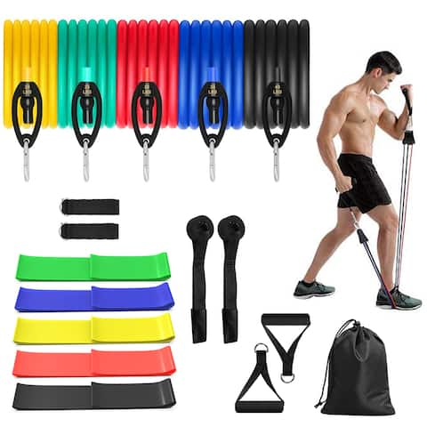 FitHealth 16PC Premium Resistance Bands Set, Workout Bands w/ Door Anchor, Handles and Ankle Straps