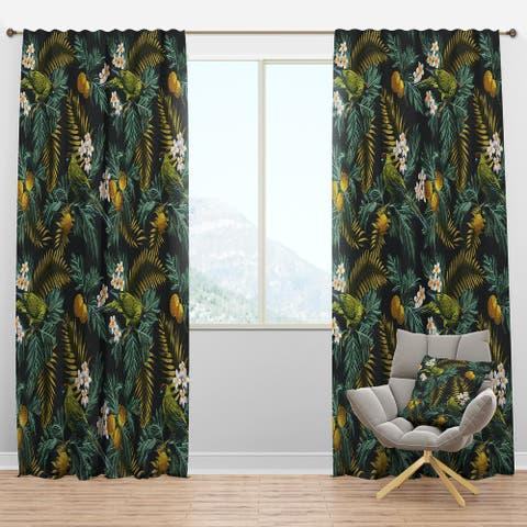Designart 'Tropical Leaves with Lemons and Green Bird' Animals Blackout Curtain Panel