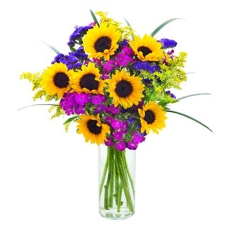 KaBloom - Mixed Bouquet Collection - Sunflowers, Dianthus, Solidago, Purple Statices & Bear Grass with Vase