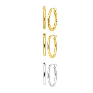 Just Gold Set of Three Hoop Earrings in 14K Yellow & White Gold - Two-tone