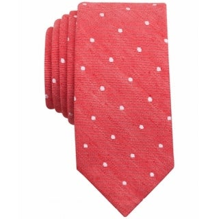 Bar III NEW Red White Mens One Size Riga Dot-Print Two-Toned Neck Tie