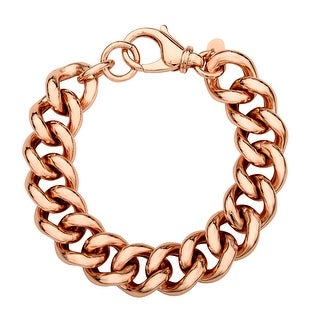 Curb Chain Bracelet in 18K Rose Gold Plate - Pink