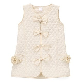 Girls Ivory Quilted Texture Bow Button Flower Pocket Jumper