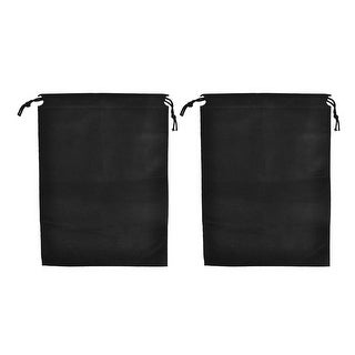 Unique Bargains Black Foldable Drawstring Cinch Sack Clothes Storage Bag 34 x 25cm 2pcs
