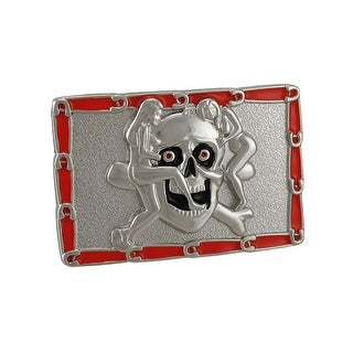 Chrome & Enamel Skull And Strippers Belt Buckle Sexy!