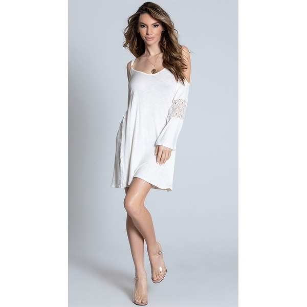 66611b44223fcf Shop Cold Shoulder Ivory Dress, White Dress - Free Shipping On Orders Over  $45 - Overstock - 27738633