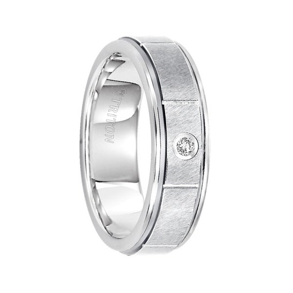 OTIS White Diamond Setting Brushed Cut Center Tungsten Ring with Step Edges by Triton Rings - 6.5mm