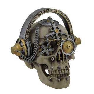 Hi-fi Head Gothic Steampunk Skull Wearing Headphones Statue - 6.75 X 6.75 X 6.5 inches