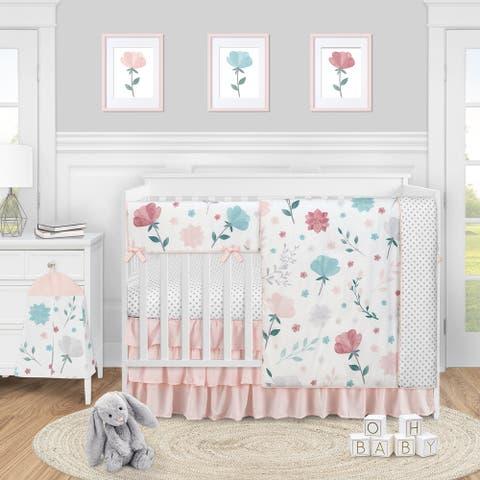 Pop Floral Rose Flowers Girl 5pc Nursery Crib Bedding Set Blush Pink Teal Turquoise Aqua Blue Grey Boho Shabby Chic Watercolor