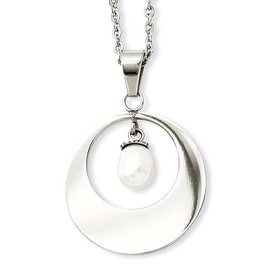 Stainless Steel Simulated Pearl Pendant 22in Necklace (1 mm) - 22 in