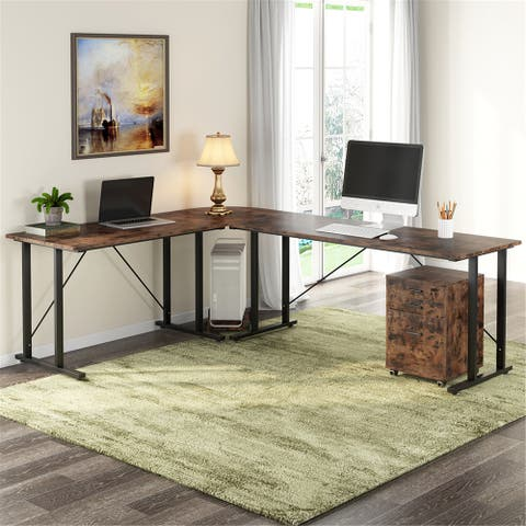83 Inch Industrial L-Shaped Desk with File Cabinet Letter Size - Rustic-brown