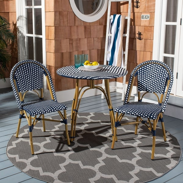 "Safavieh Salcha Indoor-Outdoor French Navy/ White Stacking Side Chair (Set of 2) - 18""x21.6""x34.6"". Opens flyout."