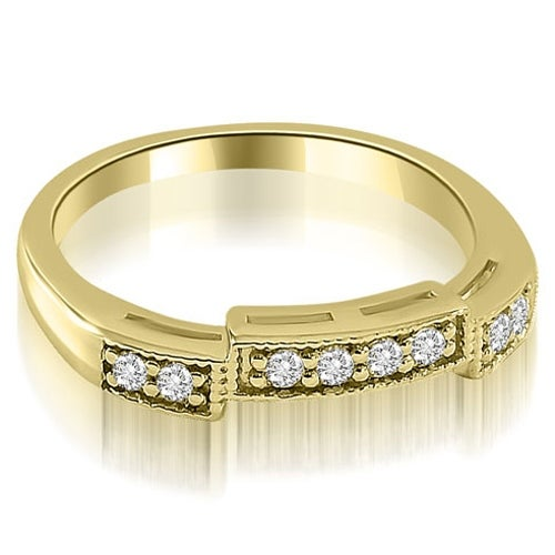 0.15 cttw. 14K Yellow Gold Antique Style Milgrain Round Cut Diamond Wedding Ring