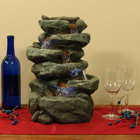 Sunnydaze 6 Tier Stone Falls Tabletop Indoor Water Fountain with LED - 15-Inch - Slate