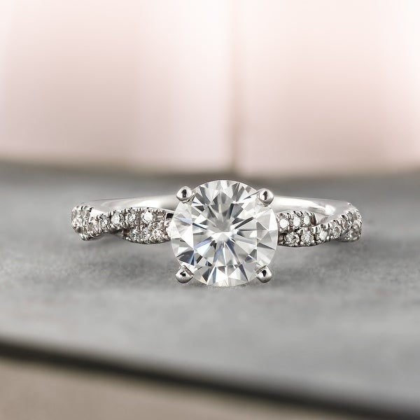 Auriya 14k Gold 1 1/2ctw Twisted Moissanite and Diamond Engagement Ring 1/5ct TDW. Opens flyout.