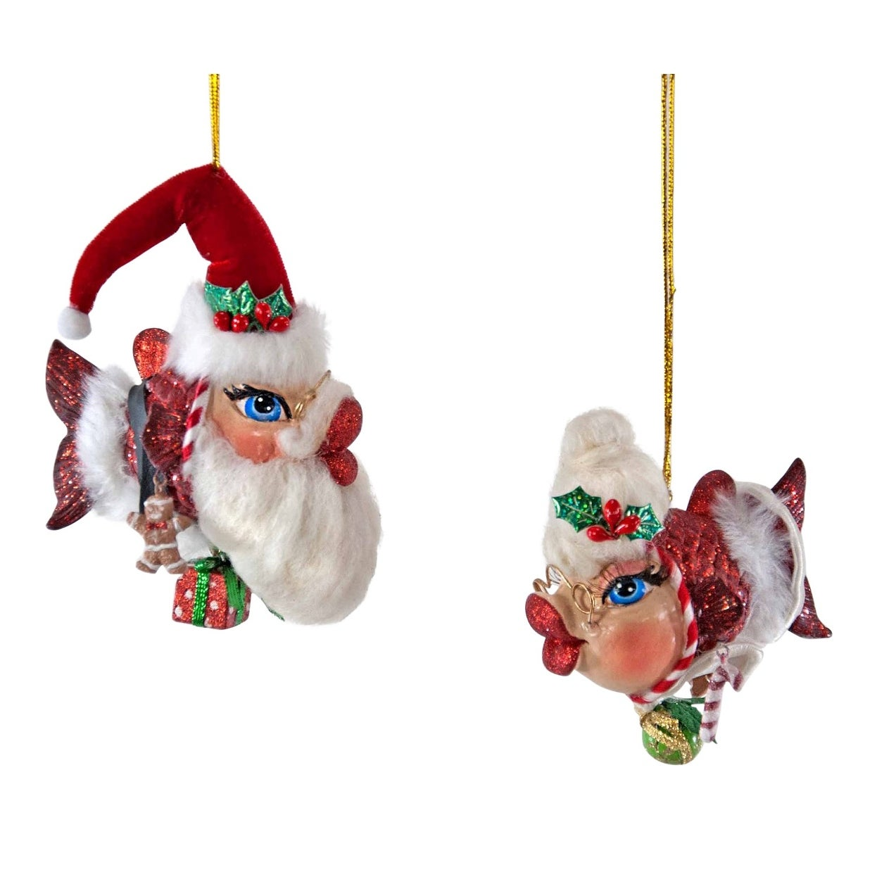 Katherine's Collection Mr Mrs Claus Kissing Fish Christmas Holiday Ornaments Set -  Overstock